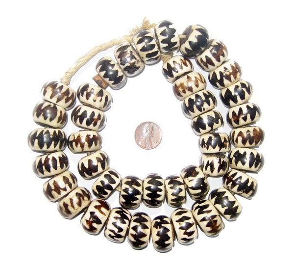Inverted Chevron Design Batik Bone Beads (Large)