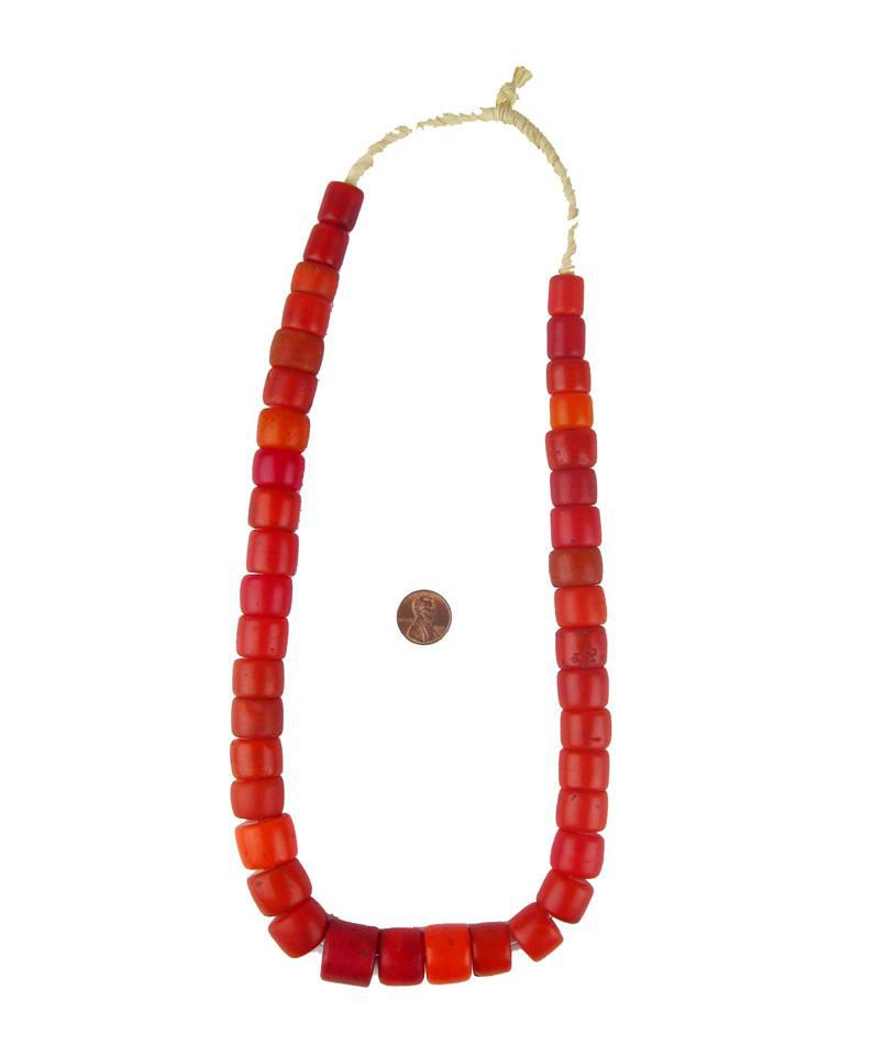 Old Red Cylinder Tomato Beads - The Bead Chest