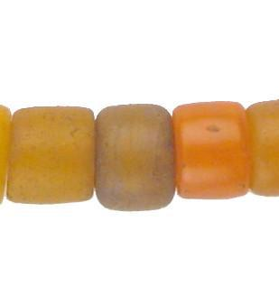 Old Mixed Orange Cylinder Tomato Beads - The Bead Chest