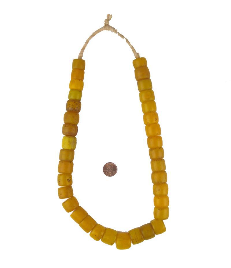 Old Orange Cylinder Tomato Beads - The Bead Chest