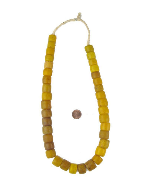 Old Yellow Cylinder Tomato Beads