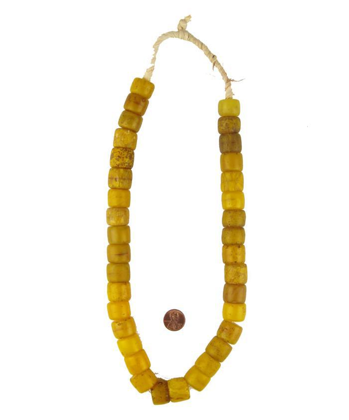 Old Yellow Cylinder Tomato Beads - The Bead Chest