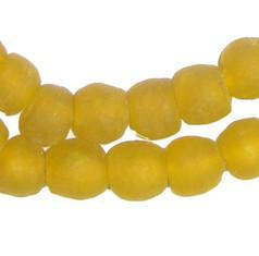 Sunflower Yellow Recycled Glass Beads (11mm) - The Bead Chest