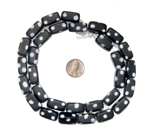 Black Rectangular Polka Dot Skunk Beads (9x19mm) - The Bead Chest