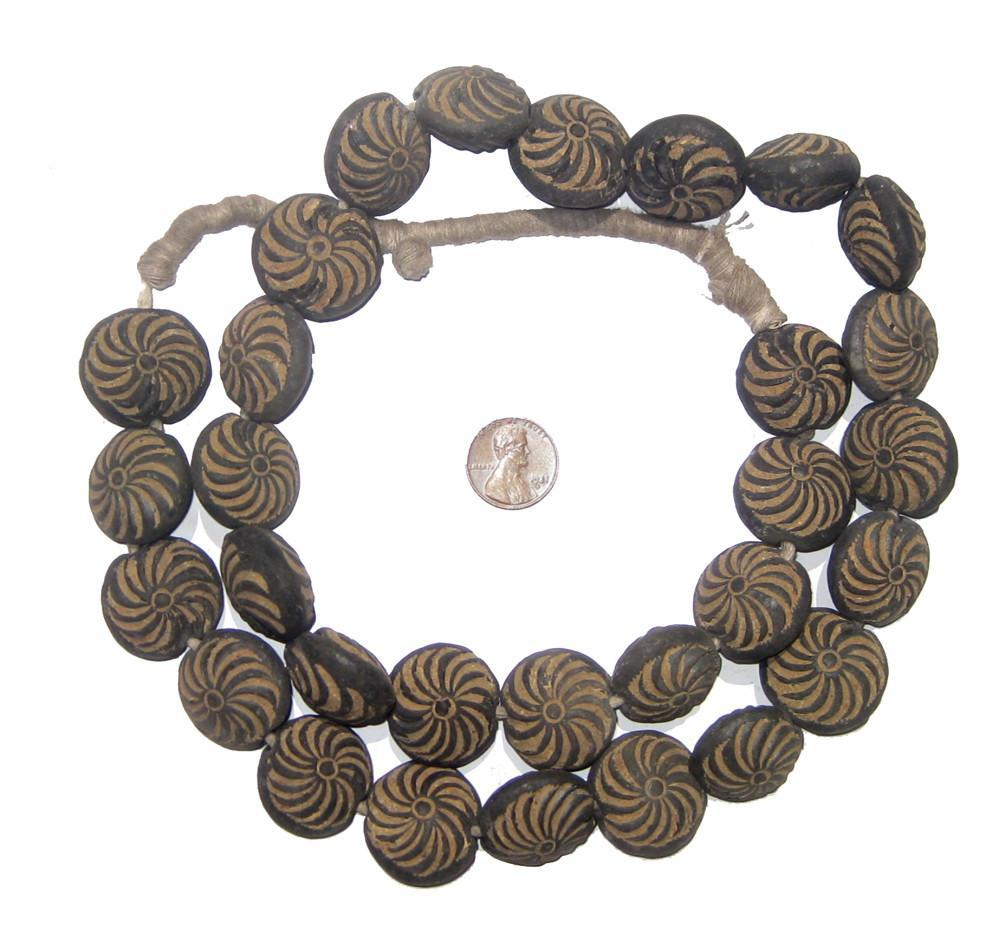 Mali Clay Spindle Disk Beads (Sun Swirl Design) - The Bead Chest