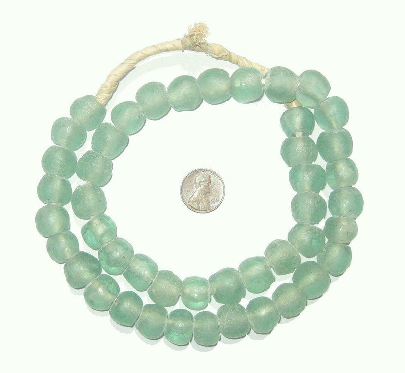Green Marine Recycled Glass Beads (14mm) - The Bead Chest