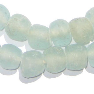 Clear Aqua Recycled Glass Beads (14mm) - The Bead Chest
