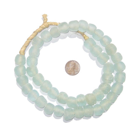 Image of Clear Aqua Recycled Glass Beads (14mm) - The Bead Chest
