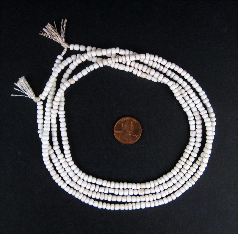 White Glass Beads (set of 2) - The Bead Chest
