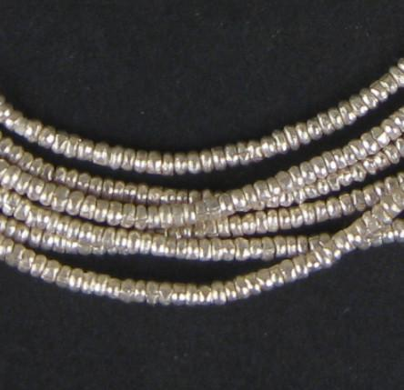 Silver Heishi Ethiopian Beads (2mm) - The Bead Chest
