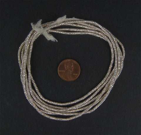 Image of Silver Heishi Ethiopian Beads (2mm) - The Bead Chest