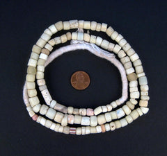 Antique White Green Heart Beads - The Bead Chest