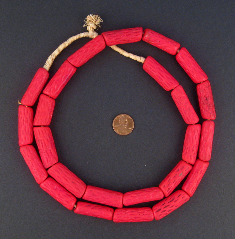 Antique Venetian Red Cane African Trade Beads (Long Strand) - The Bead Chest