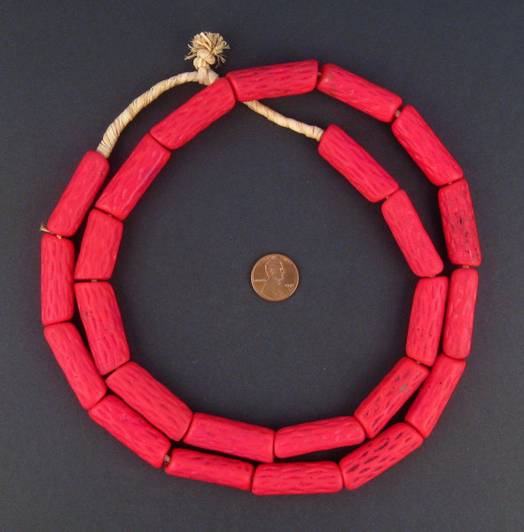 Antique Venetian Red Cane African Trade Beads (Long Strand)