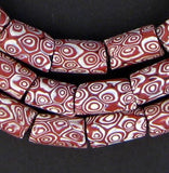 Red & White Antique Venetian Millefiori African Trade Beads (Long Strand)