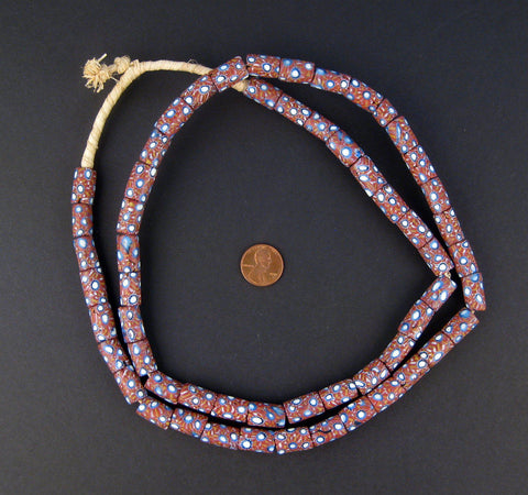 Image of Blue & Maroon Antique Venetian Millefiori African Trade Beads (Long Strand) - The Bead Chest