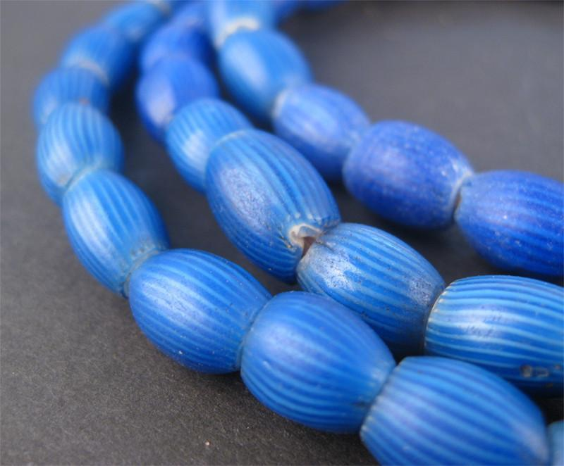 Antique Venetian Blue Onion Beads (Long Strand) - The Bead Chest