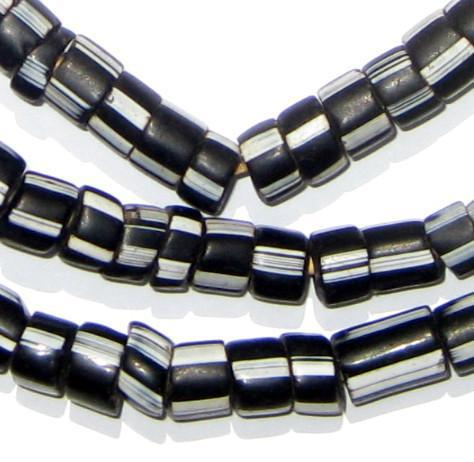 Black & White Stripe Venetian Trade Beads - The Bead Chest