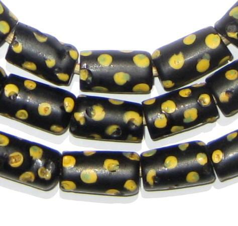 Antique Black & Yellow Dot Venetian Good Beads (Long Strand) - The Bead Chest