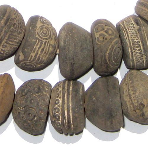 Antique Mali Clay Spindle Beads - The Bead Chest