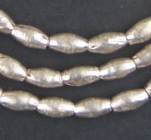 Ethiopian Elongated White Metal Bicone Beads (9x6mm) - The Bead Chest