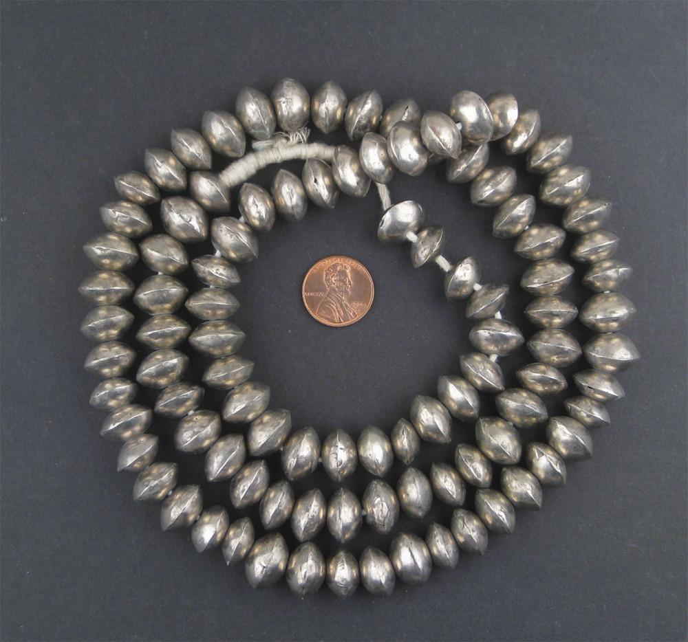 Mali Silver Bicone Beads (9x14mm) - The Bead Chest