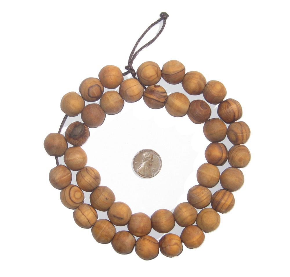 Round Olive Wood Beads from Bethlehem (15mm) - The Bead Chest