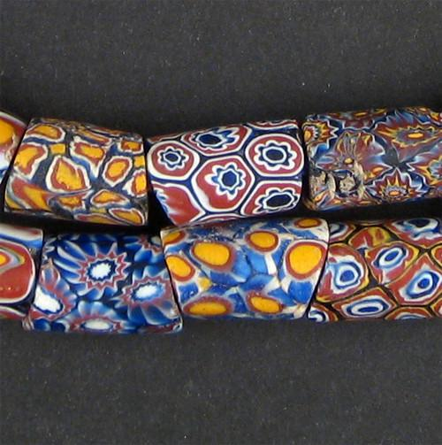 Cylindrical Antique Venetian Millefiori African Trade Beads - The Bead Chest