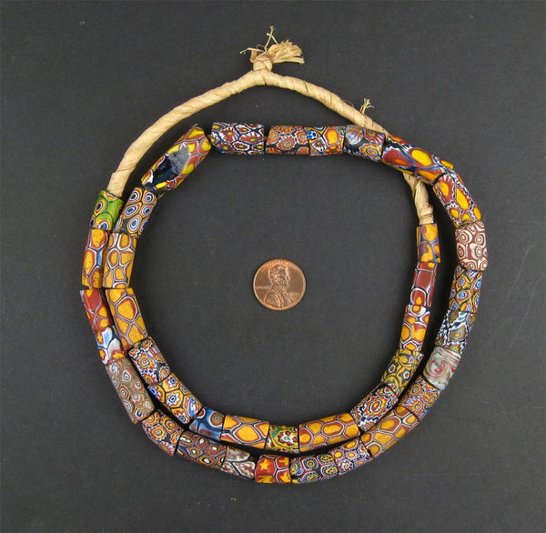 Cylindrical Antique Venetian Millefiori African Trade Beads