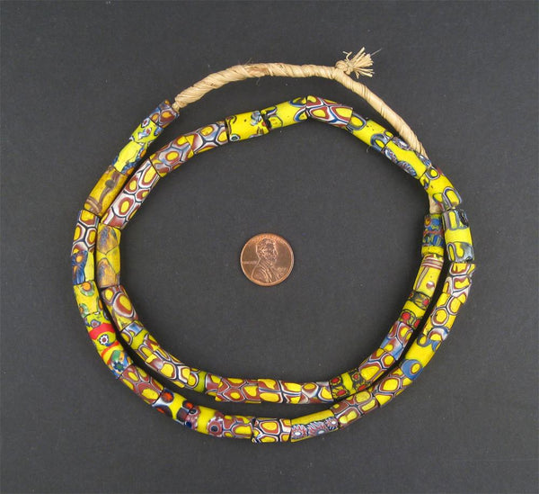 Narrow Antique Venetian Millefiori African Trade Beads