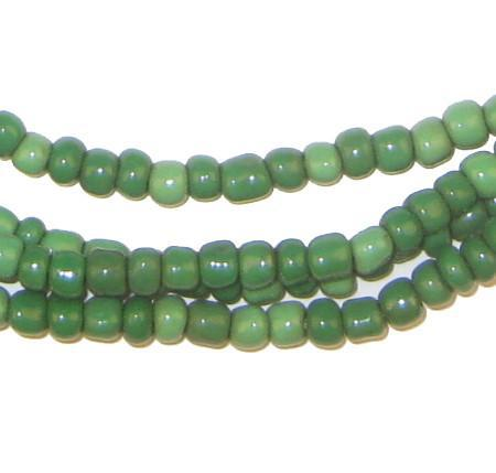 Ghana Green Glass Beads (2 Strands) - The Bead Chest