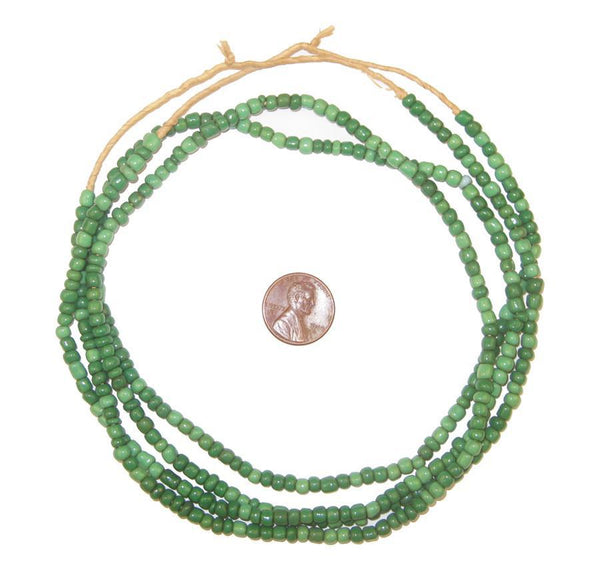 Ghana Green Glass Beads (2 Strands)