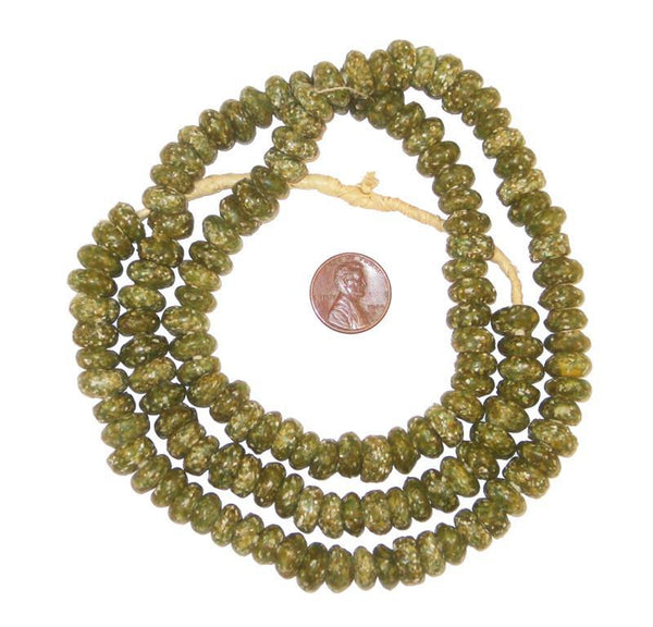 Olive Green Mosaic Rondelle Beads (Long Strand)