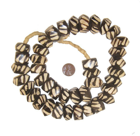 Slant Stripe Batik Bone Beads (Faceted) - The Bead Chest