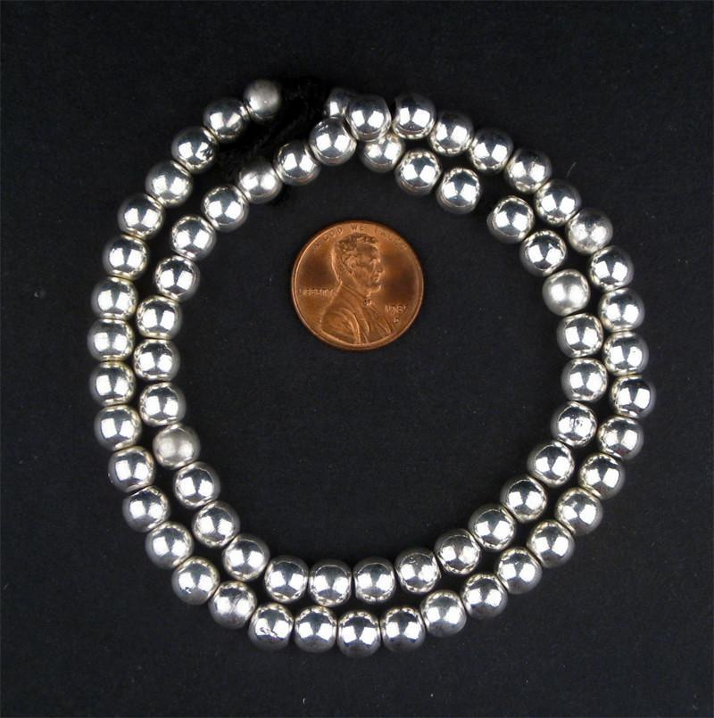 White Metal Sphere Beads - The Bead Chest