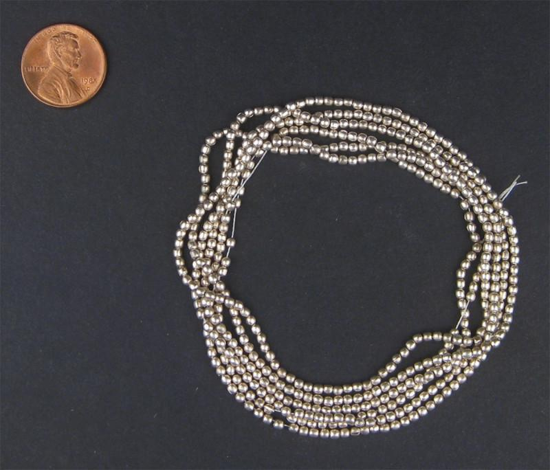 White Metal Melon Beads - The Bead Chest