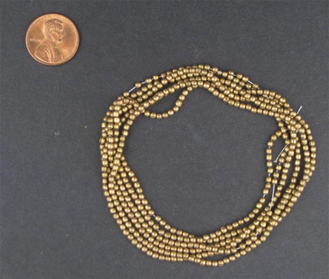 Brass Tiny Melon Beads - The Bead Chest