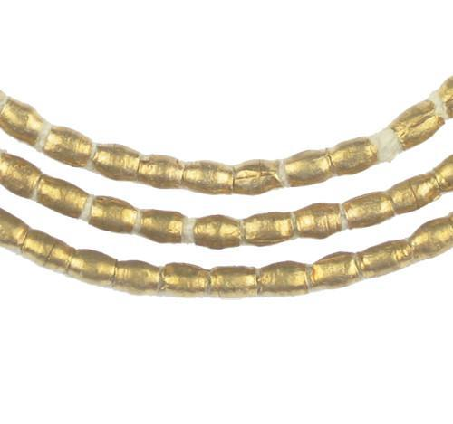 Folded Brass Tube Ethiopian Beads (4x3mm) - The Bead Chest