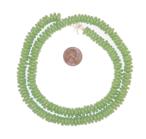 Pistachio Green Glass Disk Beads