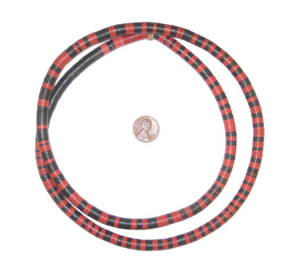 Old Striped Phono Record Beads (8mm)