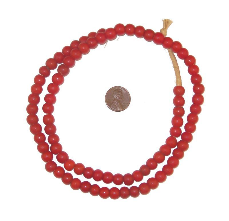 Vermilion Round Ethiopian Padre Beads - The Bead Chest