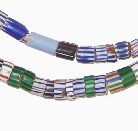 Antique Blue Elongated Chevron Beads (Long Strand) - The Bead Chest