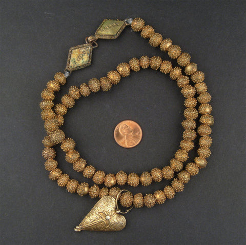 Image of Antique Yoruba Brass Bead Necklace - The Bead Chest