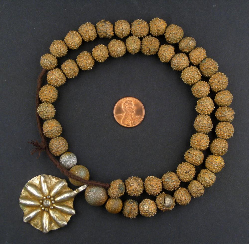 Antique Yoruba Brass Bead Necklace - The Bead Chest