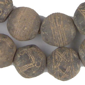 Old Large Mali Clay Spindle Beads - The Bead Chest