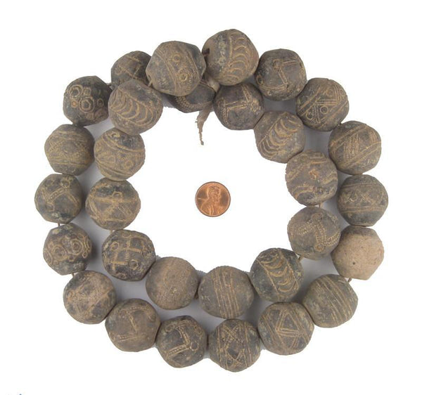 Old Large Mali Clay Spindle Beads