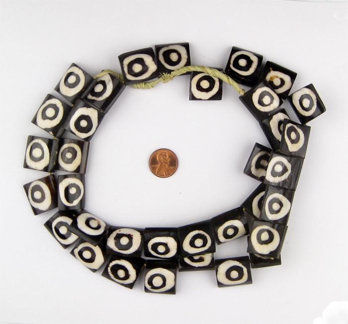 Eye Design Batik Bone Beads (Flags) - The Bead Chest