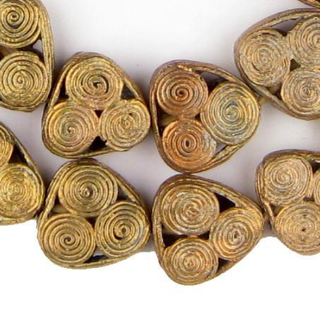 Triangle Swirl Ghana Brass Filigree Beads - The Bead Chest