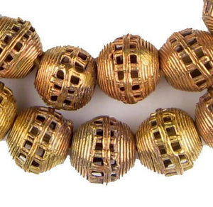 Striped Cage Brass Filigree Globe Beads (20mm) - The Bead Chest