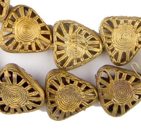 Triangle Sun Ghana Brass Filigree Beads - The Bead Chest